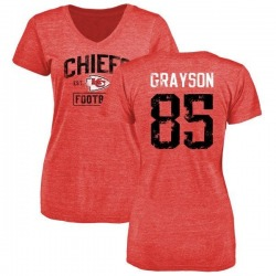 Women's Davon Grayson Kansas City Chiefs Red Distressed Name & Number Tri-Blend V-Neck T-Shirt