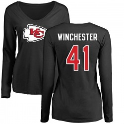 Women's James Winchester Kansas City Chiefs Name & Number Logo Slim Fit Long Sleeve T-Shirt - Black