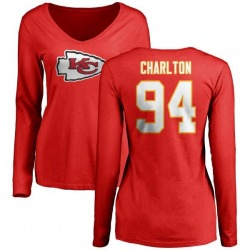 Women's Taco Charlton Kansas City Chiefs Name & Number Logo Slim Fit Long Sleeve T-Shirt - Red